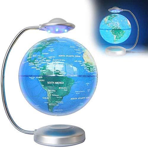 YHtech Globo Flotante con Luces LED Levitación magnética Anti Gravedad Mapa del Mundo Giratorio con Base de Metal Decoración de Escritorio Fresco Creativo