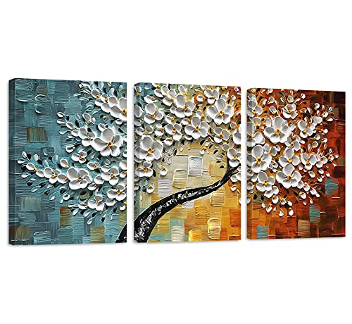 Emvency Canvas Wall Art for Living Room bathroom Bedroom, Visual 3D Floral Oil Painting On Canvas White Flowers Canvas Prints 12'x16' inch, 3 Pieces Artwork Wall Decor Framed Wall Art Ready to Hang