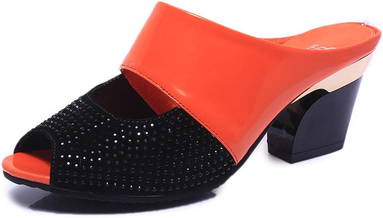 Kyle Walsh Pa Women Casual Sandals Slip-on Block Heel Peep Toe Ladies High-Heeled Slippers
