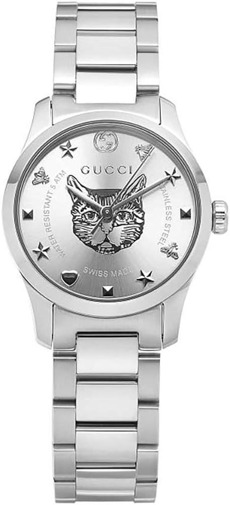 Gucci, orologio per donna in acciaio,quadrante argentato con motivo testa di felino,movimento eta al quarzo YA126595