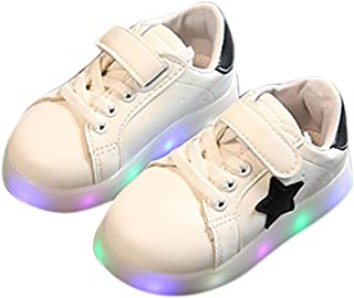 Hopscotch Boys and Girls PU LED Shoes with Star Patch - White