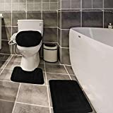 Golden Linens 3 Piece Bath Rug Set Solid Color Pattern Carved Extra Soft Touch and Absorbent Bathroom Rug (Bath mat 20' X 30' Contour 18' X 18' Lid Cover 20' X 20') #GL001 (Black)