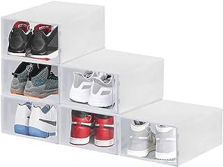 BUZIFU 6 Pcs Boîte à Chaussures en Plastique Empilable Boîte Rangement Chaussures Transparente Rangement Chaussures Tiroir...