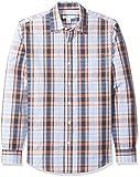 Amazon Essentials - Camisa informal de popelín de manga larga de corte entallado para hombre, Coral/Navy Plaid, US M (EU M)