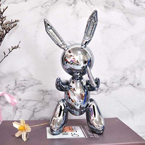 OYQQ Ornaments Statue Main Figure Decor Balloon Rabbit Home Decoration Arts And Crafts Garden Decoration Creative Statueight Gray, Light Gray, 25Cm