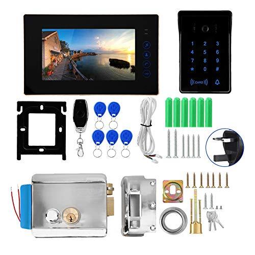 Timbre para Puerta Video Doorbell, Tarjeta De Teclado Táctil con Cable De 7'Control Remoto Video Portero De Video Timbre con Cerradura Eléctrica