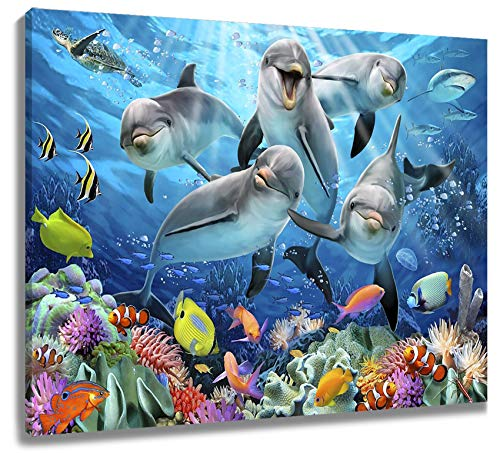 LB Custom Framed Ocean Animal Canvas Wall Art Cute Dolphin Sea Turtle Wall Decor Colorful Fish Coral Wall Art Canvas for Living Room Bedroom Bathroom Home Decor Ready to Hang,16x12 inch