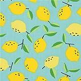 Türkises Wachstuch mit gelben Zitronen von Kawaii Fabric