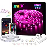 Tiras LED, JESLED 5M Tiras de Luces LED Sincronización de música Bluetooth, control de a...
