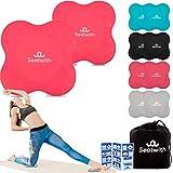 Yoga-Knie-Pad 2er Pack Kniekissen mit Transportbeutel+Trainingsanleitung PDF Maximale Entlastung und Unterstützung der Knie Handgelenke und Ellbogen Knieschoner 20 x 20 cm Fitness Pilates PINK