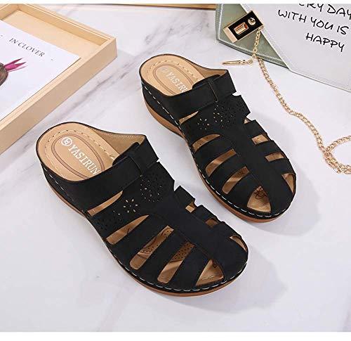 JFFFFWI Zuecos de Mula para Mujer Sandalias de cuña Sandalias de Cuero de Verano para Mujer Zapatos de Plataforma con Punta Cerrada Sandalias sin Espalda Zapatos para Caminar Transpirables de Ajuste