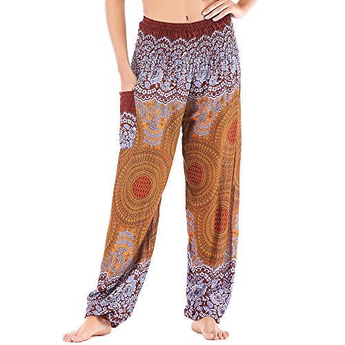 Nuofengkudu Damen Hippie Pumphosen mit Taschen Muster High Waist Haremshose Boho Luftige Bequeme Sommer Thai Hosen Yogahose Boho Strandhosen Festlich(X-Kaffee Runde,Einheitsgröße)