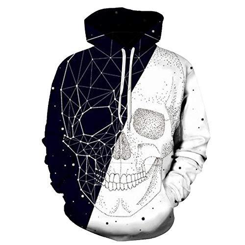 YJWSPD Pullover Hoodie Hooded Unisex Mens Ladies Hooded SweatshirtsSkull 3D Printed Hooded pocket-Y-5148_L