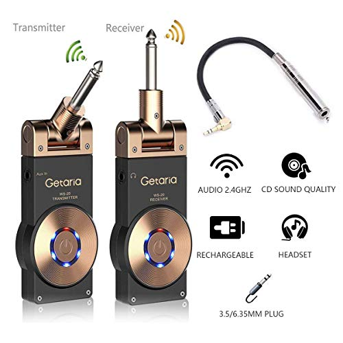 Getaria Wireless Guitar System Rechargeable Digital Transmitter Receiver Set for Electric Guitar Bass with 3.5mm to 6.35 mm (1/4 inch) Male to Female...