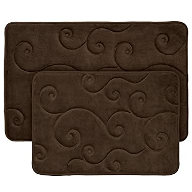 2 pc Memory Foam Bath Mat Set by Bedford Home - Coral Fleece Embossed Pattern - Chocolate