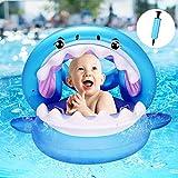Yosemy Flotador para Bebé con Sombrilla Barco Inflable Flotador con Asiento Piscina Juguetes de Natación en Agua para Niños Anillo de Natación para Bebés de 6-36 Meses, Tiburón Azul