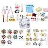 Aardich Suministros fabricación de Joyas Pendiente DIY Kit Set con Cuentas Alicates rebordeando el Alambre de la Pulsera del Collar Pendientes 2035PCS