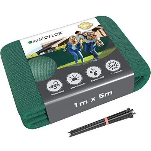 AGROFLOR - Brise-vue - Tapis ombragé - Protection contre le vent - Avec attache-câbles - Différentes tailles 1 x 5 m vert foncé