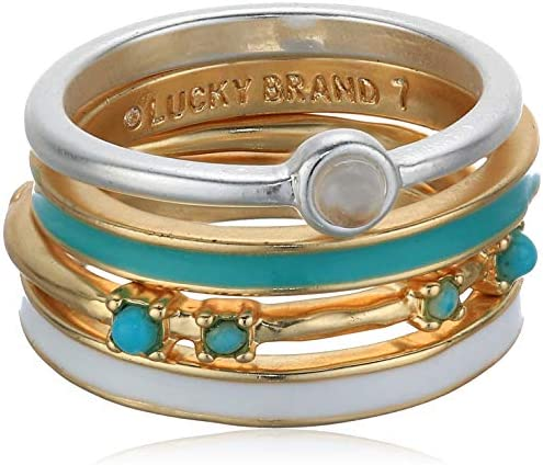 Lucky Brand Jewelry Turquoise Stack Rings Two Tone One Size JWEL4433 product image