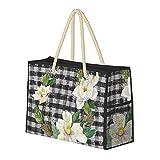 Bolso de playa grande con guirnalda de magnolia, granja rústica, bolso de hombro a cuadros blanco y negro para mujer, bolso de mano con asas