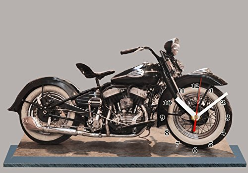 Miniature Moto US Harley Davidson en Horloge Miniature sur Socle