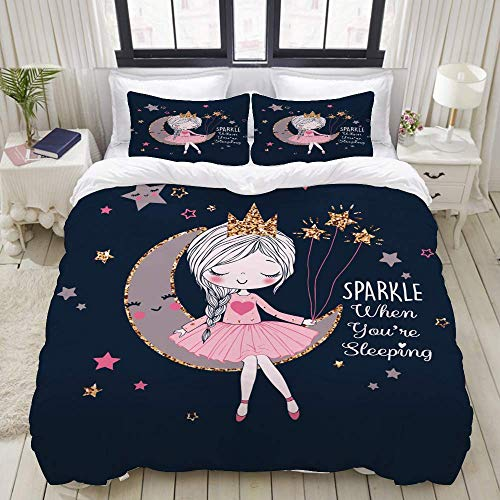 Duvet Cover Set, Romantic Girl On Moon Dreamer Vector, Colorful Decorative 3 Piece Bedding Set with 2 Pillow Shams