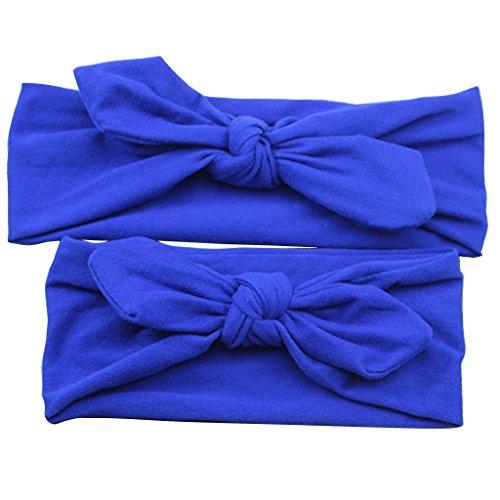Perfeclan Fasce Elastiche per Turbante Elasticizzate con 2 Pezzi per Madre E Figlia - Blu scuro