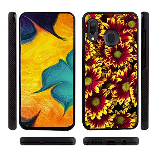 UZEUZA Carcasa para Samsung Galaxy A30, resistente a los golpes, diseño de flores, color negro