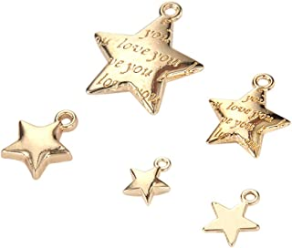 50pcs Mixed Gold Plated Stars DIY Charms Pendant for Crafting Jewelry Making Accessory