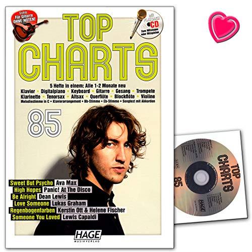 Top Charts 85 (mit CD) - Die aktuellsten Hits der erfolgreichsten Stars und das Beste aus den Charts! - Notenbuch für Klavier, Keyboard, Gitarre, Gesang mit CD und Notenklammer