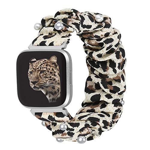 Glebo Correa elástica Scrunchie compatible con Fitbit Versa/Versa 2/Versa Lite/Versa SE, correa de reloj elástica con perlas de repuesto compatible para mujer, pequeña/leopardo