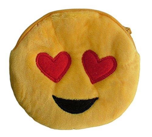 Flauschiger Münzbeutel (Geldbeutel/Portemonnaie/Geldbörse) mit witzigen Emoticons und Smilies für Mädchen & Jungs (auch als Schlüsseletui/Schlüsseltasche verwendbar) (Gelb (Liebe))