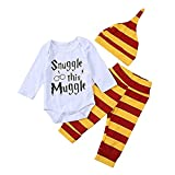 Baby Boys Girls Snuggle This Muggle Bodysuit and Striped Pants Outfit with Hat