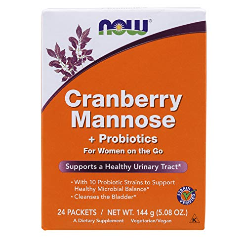 Now Foods Cran and Mannose with Probiotics Drink Sticks, 24 Count