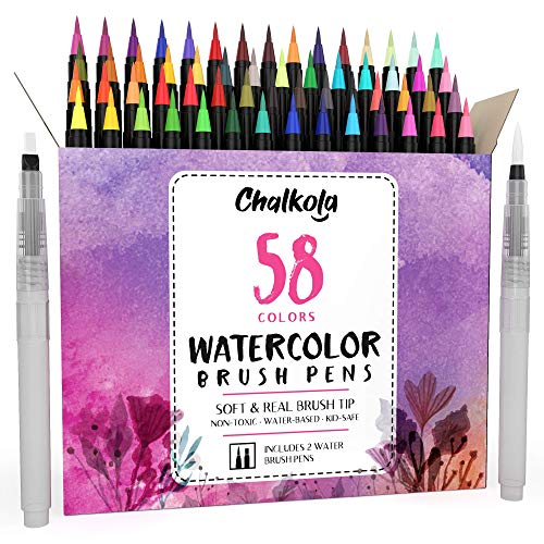 Watercolor Brush Pens | 58 Colors with 2 Blending Brush - Paint Markers for Painting, Coloring, Calligraphy, Drawing for Kids, Artists, Beginner Painters - Real Flexible Tips