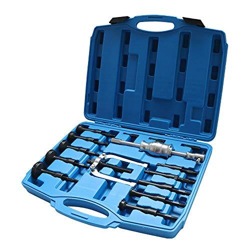 YUNRUX 16 Stück Grundloch Innenlager Abzieher Set Gleithammer Innenauszieher Lagerabzieher Werkzeugsatz Sackloch Radlager Auszieher Werkzeug Kugellager Spezial Werkzeug Set