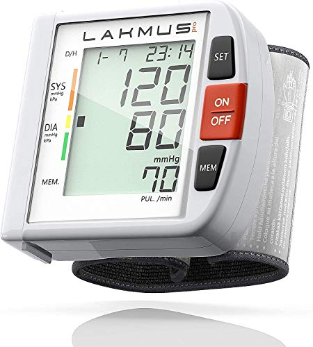 Lakmus Pro Blood Pressure Monitor Cuff Wrist - Digital BP Monitor FDA Approved - Fully Automatic Accurate Wrist Pressure Monitor for Home - Wrist BP Machine with Large LCD Display Carrying Case 2AAA