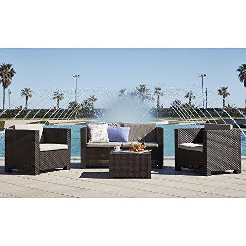Shaf - Diva | Set Muebles de Jardin de Color Wengué | Fabricado en España con Materiales Reciclados