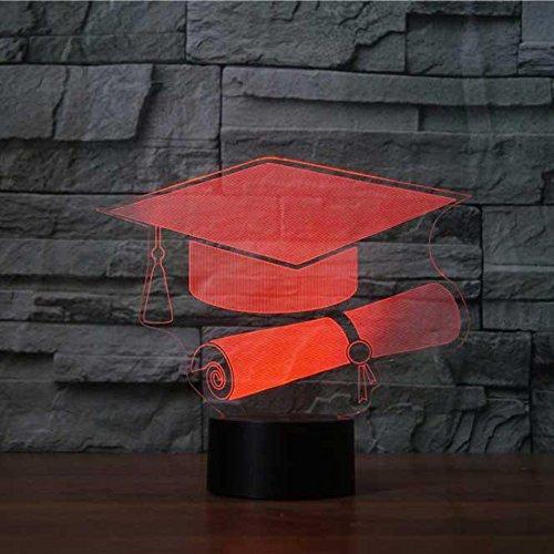 3D abschluss der gap Optische Illusions-Lampen, Tolle 7 Farbwechsel Acryl berühren Tabelle Schreibtisch-Nachtlicht mit USB-Kabel für Kinder Schlafzimmer Geburtstagsgeschenke Geschenk