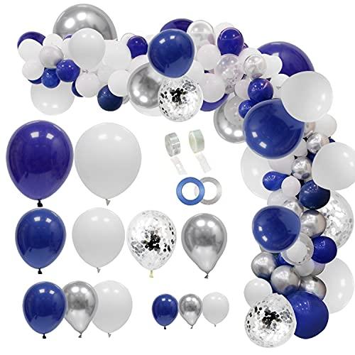 JULLIZ 145pcs Navy Blue Silver Balloons Garland Kit, Royal Blue Silver White Confetti Balloon Arch for 2021Graduation Party Wedding Birthday Shower Classroom Decoration