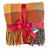 G Lake Orange Plaid Blanket Throw Acrylic Soft Reversible Dyed Fringed Bed Blanket for Christmas Decorations 50' W x 67' L -Color Pumpkin
