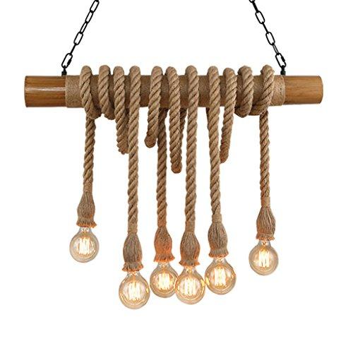 . Lámpara de araña – Cuerda de cáñamo retro industrial industrial de viento de bambú, colgante de luz (80 x 60 cm) (color: A)