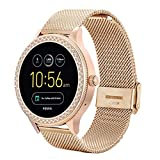 Compatible with Fossil Q Venture Watch Band,18mm Mesh Woven Stainless Steel Strap Watch Band for Fossil Women's Gen 4 Venture HR/Gen 3 Q Venture/Fossil Women's Gen 4 Sport Rose gold