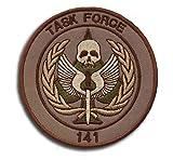 Ohrong Task Force 141 Call of Duty - Parches tácticos de moral con emblema de SAS con cierre de gancho y lazo para chaquetas militares, gorras, mochilas (marrón)