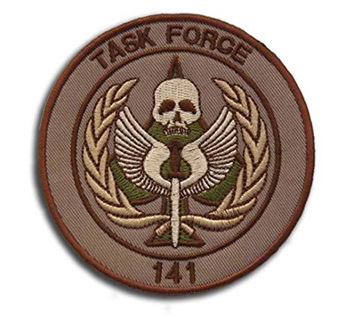 Ohrong Task Force 141 Call of Duty Parches tácticos bordados de moral SAS Insignia Emblema con cierre de velcro para chaquetas militares, gorras, mochilas (marrón)