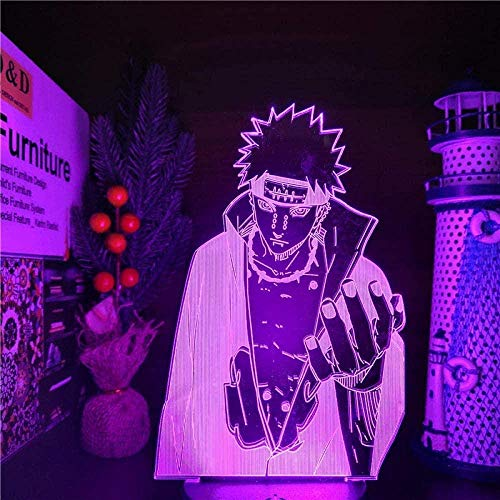 Naruto Pain Akatsuki 3D LED Colour Changing Night Lights Anime Naruto Lamp 3D Visual Lighting for Bedroom & ndash; Crack Base