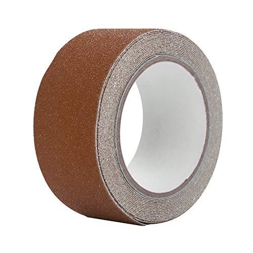 GXMZL Cinta Antideslizante - Colorida Cinta Adhesiva Antideslizante de PVC de 5M * 5cm for la decoración de Seguridad del Piso de la Escalera (marrón)