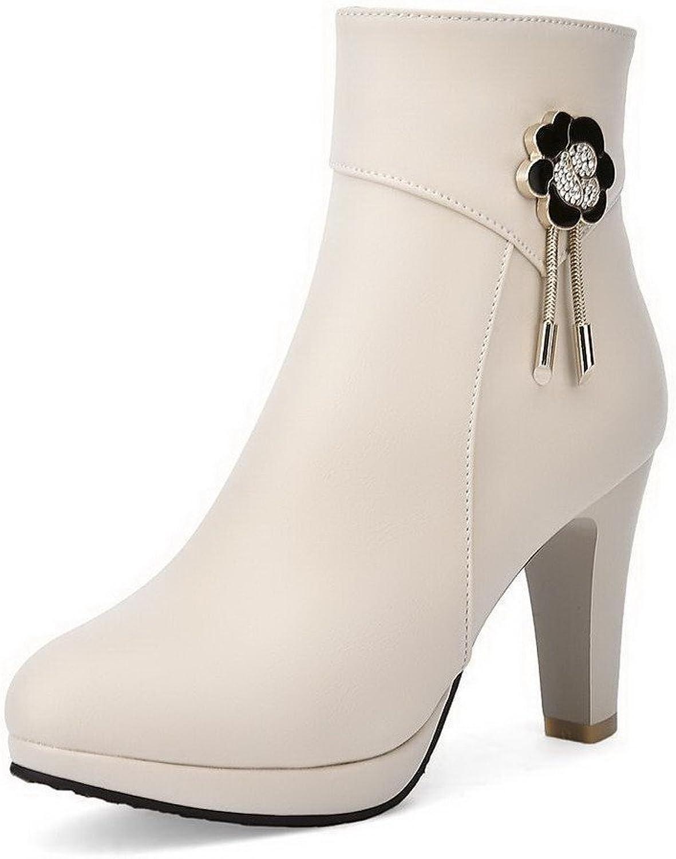WeenFashion Women's High Heels Low Top Solid Zipper Boots with Metal
