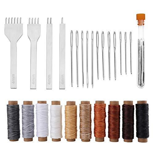 Suwimut 26 Pieces Leather Sewing Tools Kit, DIY Leather Craft Tools with 4mm Hole Stitching Prong Punch, Waxed Thread and Big Eye Stitching Needles for Leather Working, Crafting, Making Projects