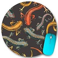 KAPANOU ラウンドマウスパッド カスタムマウスパッド、トカゲ爬虫類シームレスパターンイラスト、PC ノートパソコン オフィス用 円形 デスクマット 、ズされたゲーミングマウスパッド 滑り止め 耐久性が 200mmx200mm